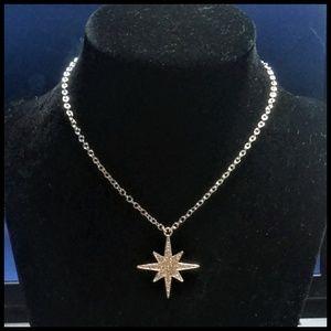 Silver Pavé Starburst Pendant Necklace